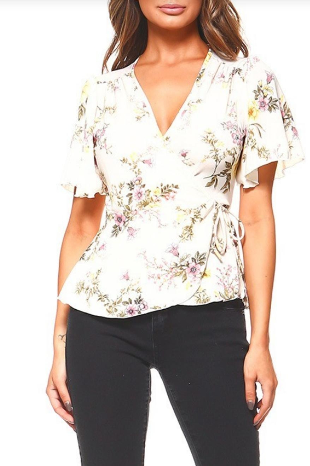Miley and Molly Floral Wrap Blouse - Main Image