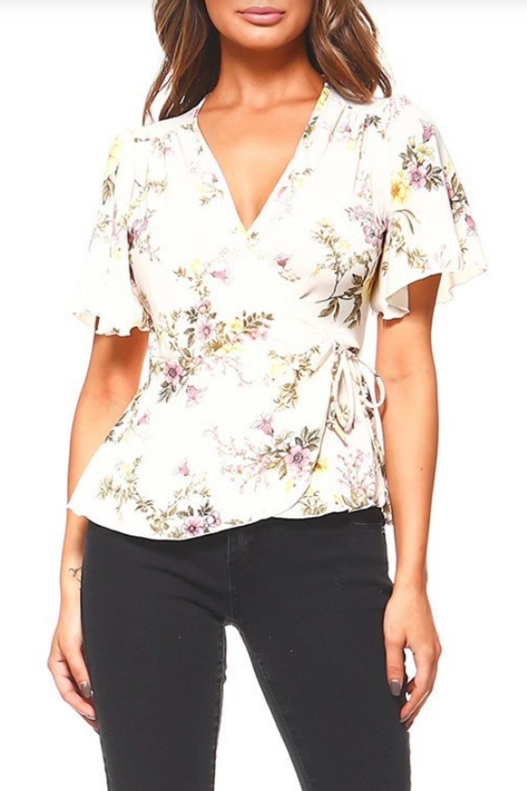 Miley and Molly Floral Wrap Blouse - Back Cropped Image