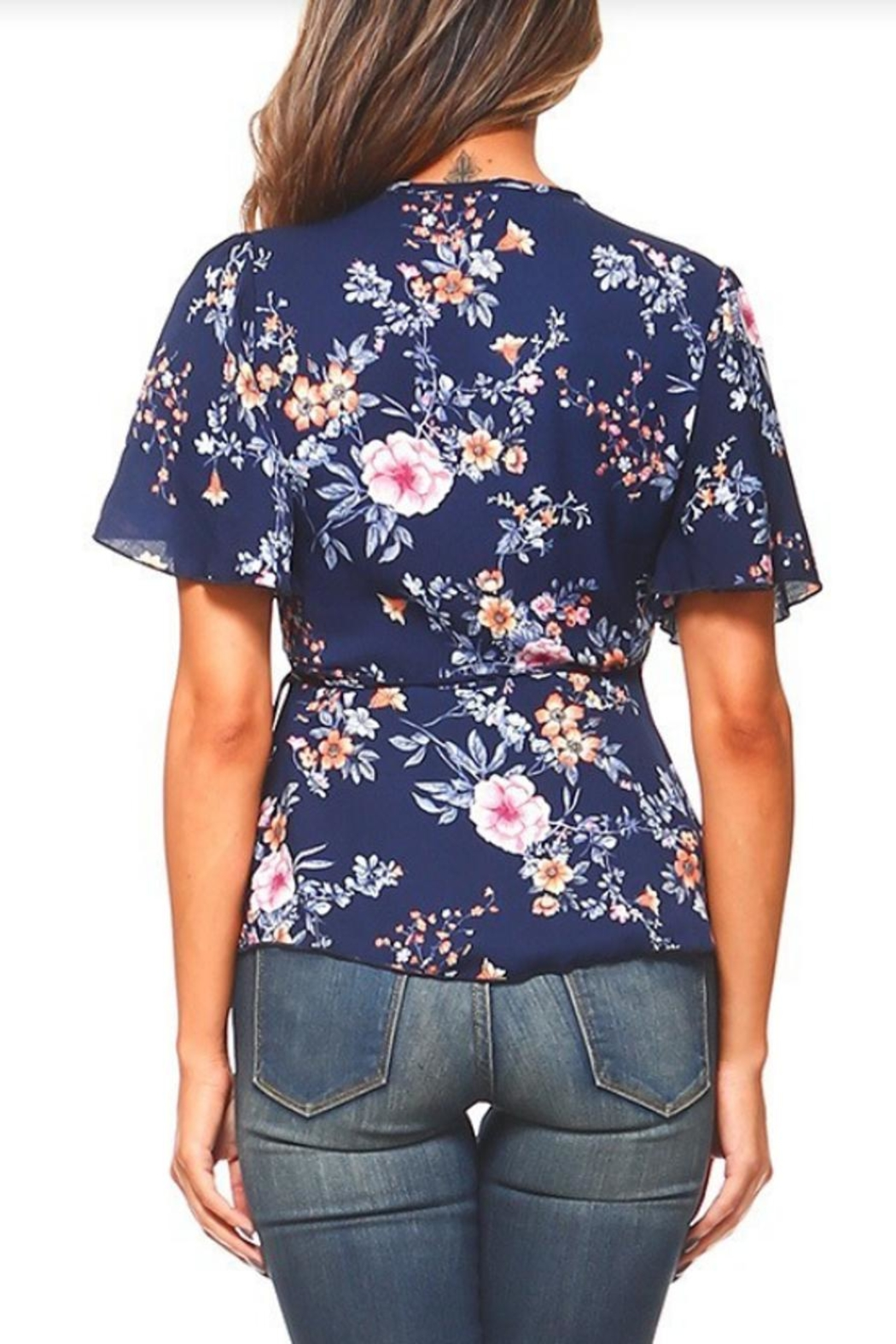 Miley and Molly Floral Wrap Blouse - Side Cropped Image