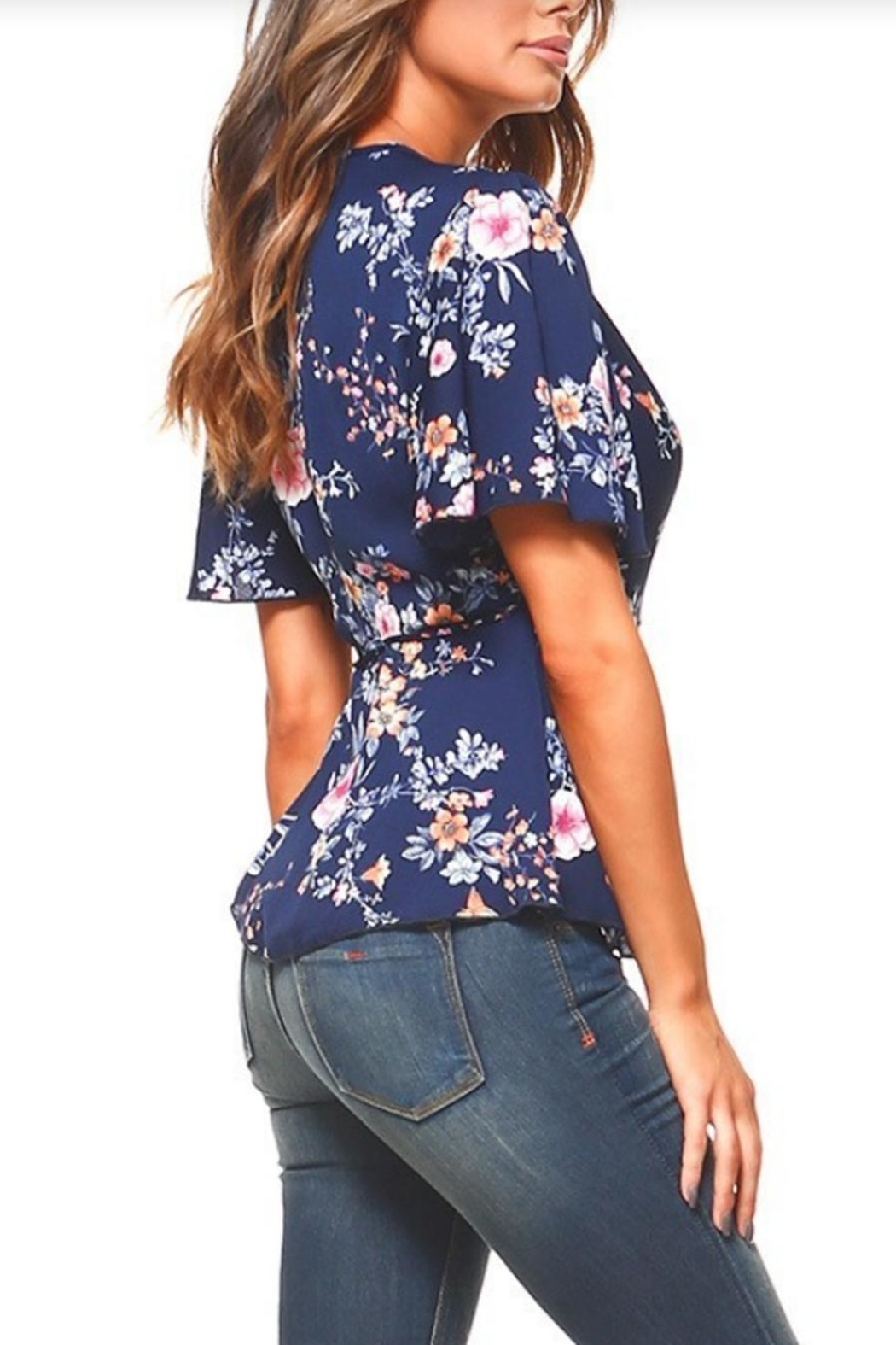 Miley and Molly Floral Wrap Blouse - Front Full Image