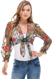 Miley and Molly Flower Embroidered Tie Front Puff Sleeve Cardigan - Product Mini Image