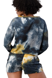 Miley and Molly French Terry Tie Dye Long Sleeve Top And Jogger Shorts Matching Sets Lounge Wear Set - Side cropped