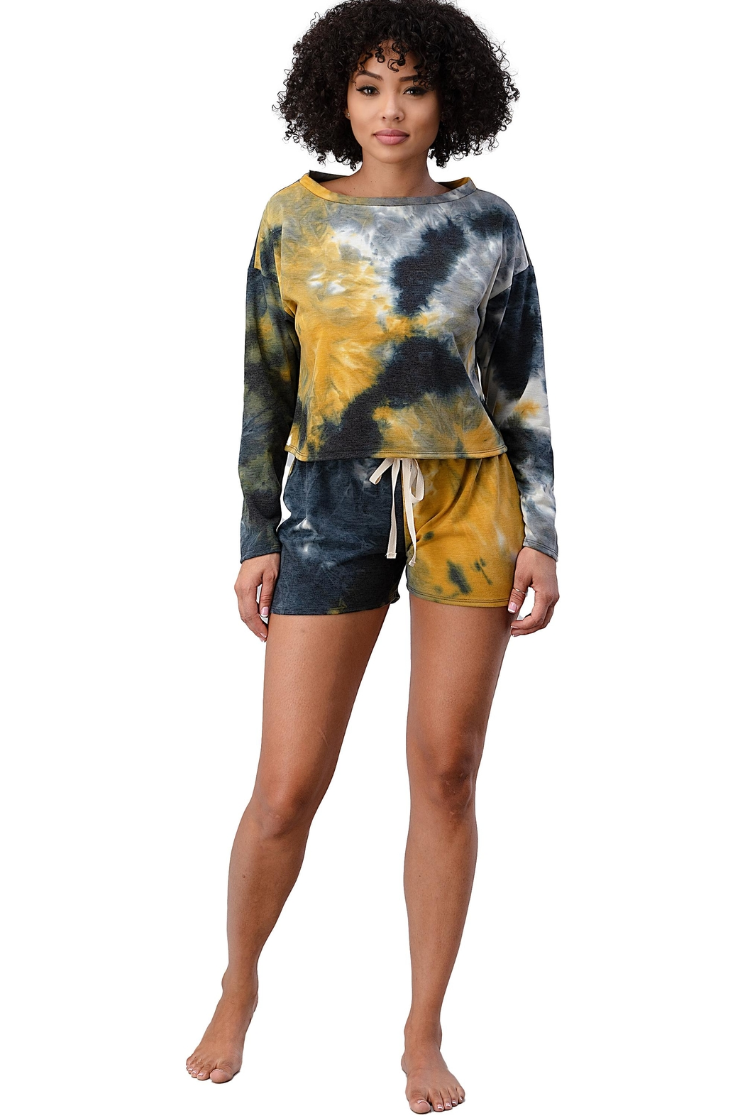 Miley and Molly French Terry Tie Dye Long Sleeve Top And Jogger Shorts Matching Sets Lounge Wear Set - Back Cropped Image