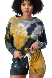 Miley and Molly French Terry Tie Dye Long Sleeve Top And Jogger Shorts Matching Sets Lounge Wear Set - Front cropped