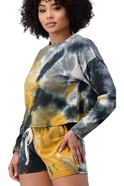 Miley and Molly French Terry Tie Dye Long Sleeve Top And Jogger Shorts Matching Sets Lounge Wear Set - Front full body