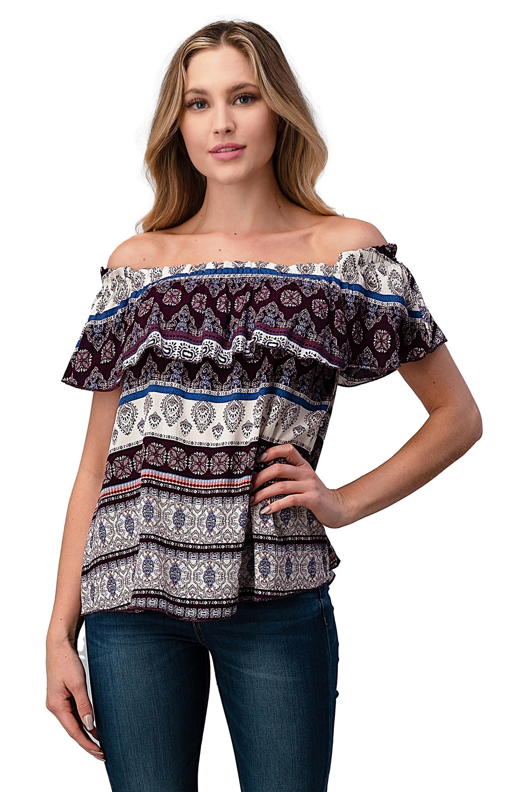 Miley and Molly Gauze Boho Print Off Shoulder Top - Main Image