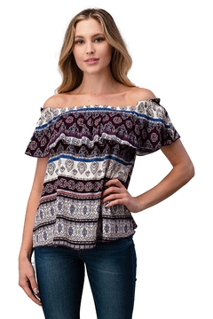 Miley and Molly Gauze Boho Print Off Shoulder Top - Product List Image
