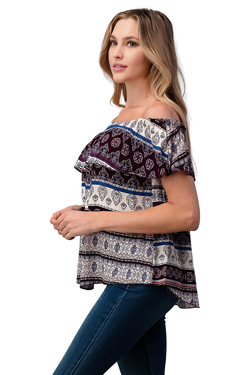 Miley and Molly Gauze Boho Print Off Shoulder Top - Front Full Image