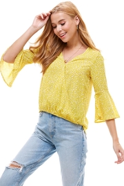 Miley and Molly Geo Dot Print Surplice Bell Long Sleeve Blouse Top - Product Mini Image