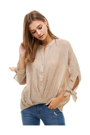 Miley and Molly Hi Low Tie Sleeve Button Down Shirts - Product Mini Image