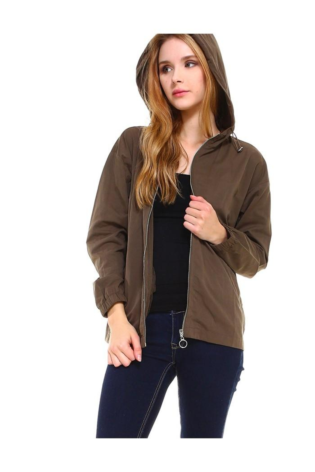 Miley and Molly Hooded Zip Front Windbreaker Jacket Top - Main Image