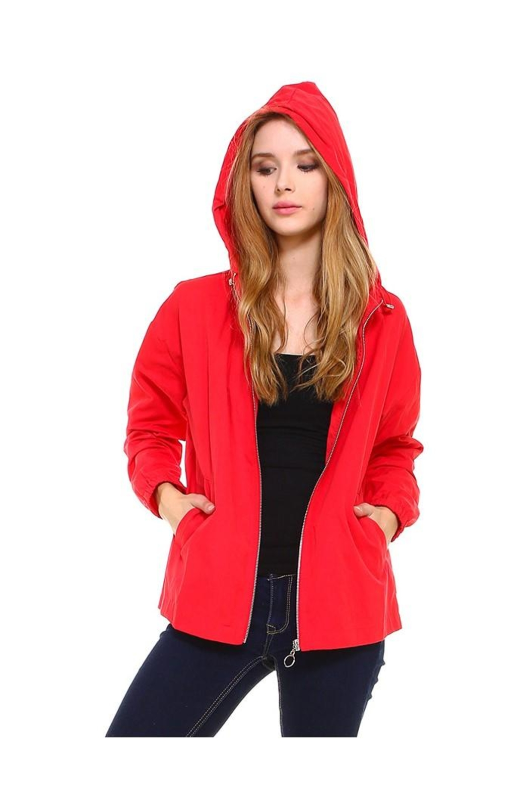 Miley and Molly Hooded Zip Front Windbreaker Jacket Top - Front Cropped Image