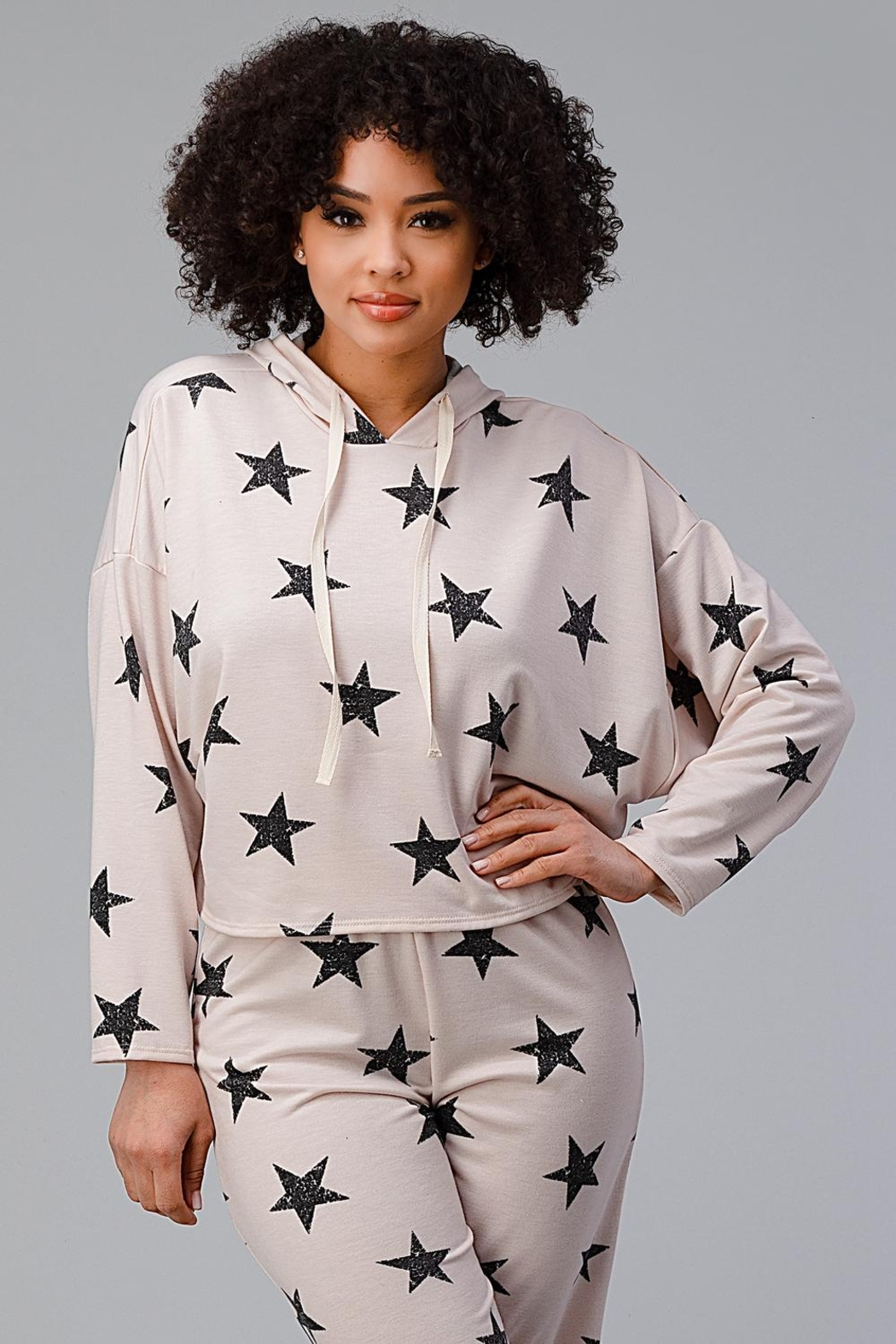 Miley and Molly Hoodie Jogger Set Pajama Pj Loungewear Set Star - Side Cropped Image