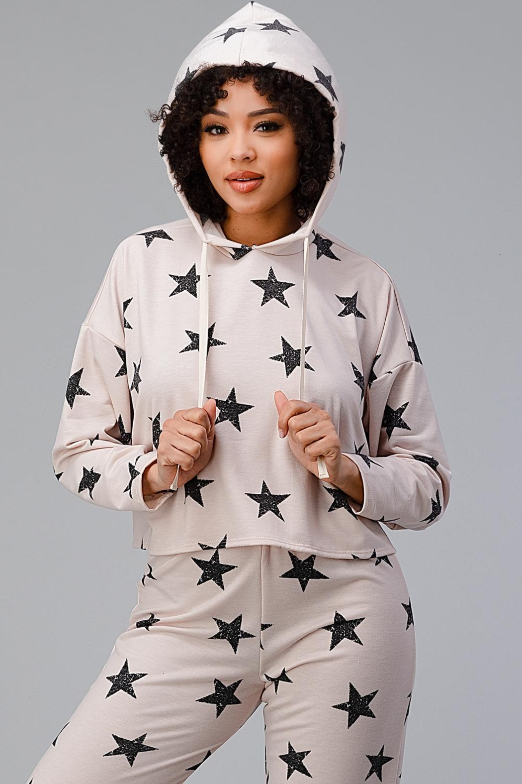 Miley and Molly Hoodie Jogger Set Pajama Pj Loungewear Set Star - Front Cropped Image