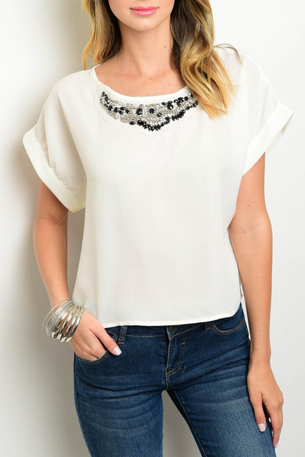 Miley and Molly Ivory Embellished Top - Front Cropped Image