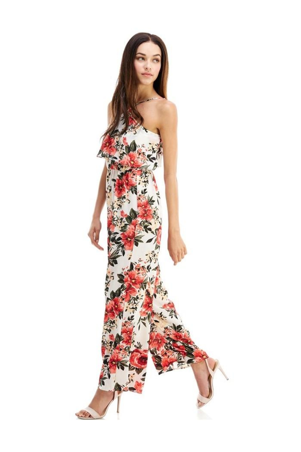 Miley and Molly Jumpsuits Floral Print Halter Neck Jumpsuit - Front Full Image