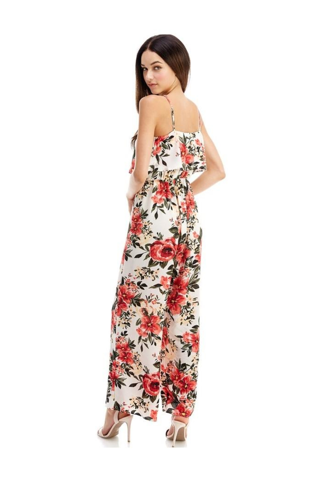 Miley and Molly Jumpsuits Floral Print Halter Neck Jumpsuit - Side Cropped Image