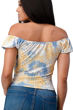 Miley and Molly Knit Eyelet Tie Dye Ruched Cap Sleeve Fashion Top - Alternate List Image