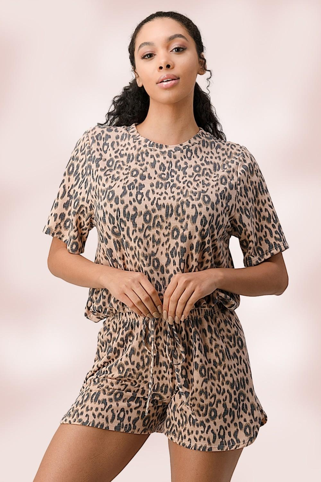 Miley and Molly Leopard Lounge Wear Set Pj Pajama Set - Front Full Image