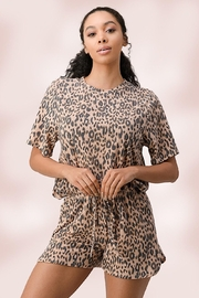 Miley and Molly Leopard Lounge Wear Set Pj Pajama Set - Front full body