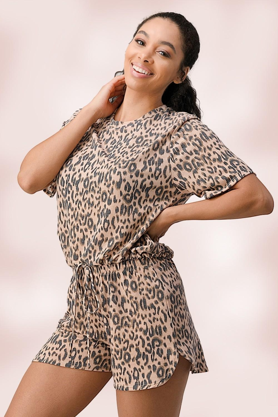Miley and Molly Leopard Lounge Wear Set Pj Pajama Set - Front Cropped Image