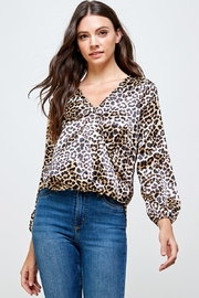 Miley and Molly Leopard Printed Surplice Long Sleeve Blouse - Product Mini Image