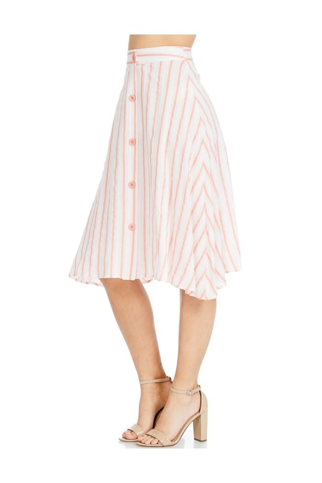 Miley and Molly Linen Stripe Button Front A-Line Midi Skirt - Front Full Image