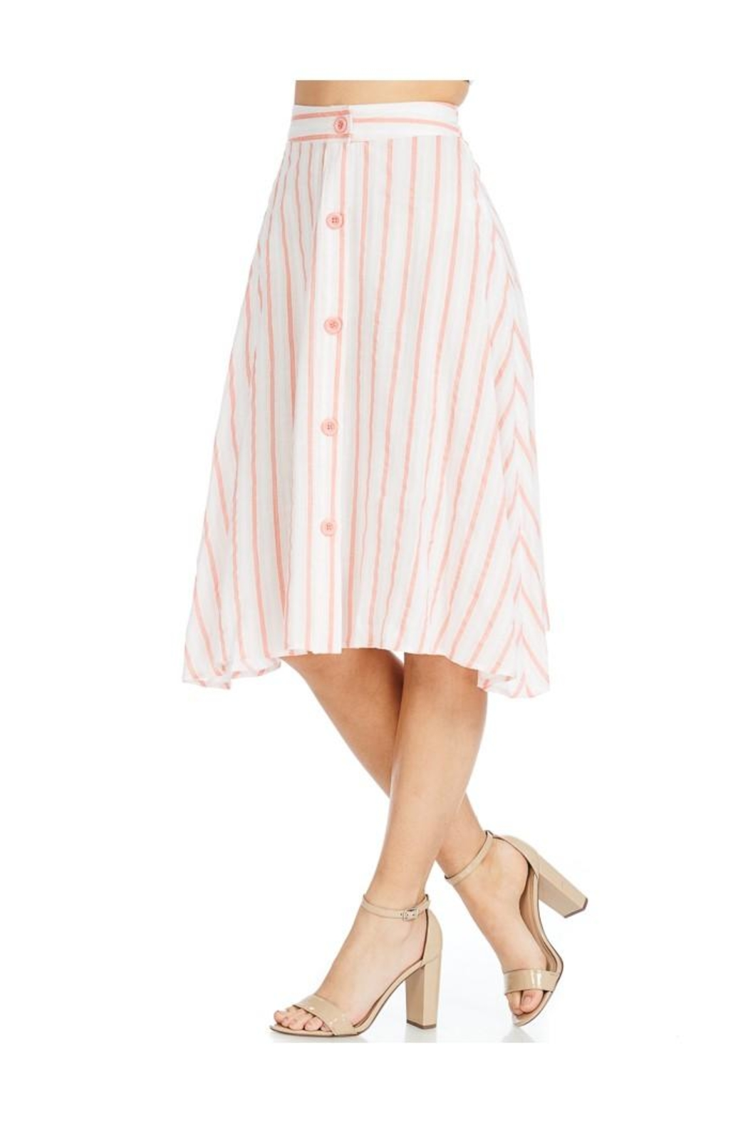 Miley and Molly Linen Stripe Button Front A-Line Midi Skirt - Side Cropped Image
