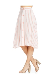 Miley and Molly Linen Stripe Button Front A-Line Midi Skirt - Side cropped