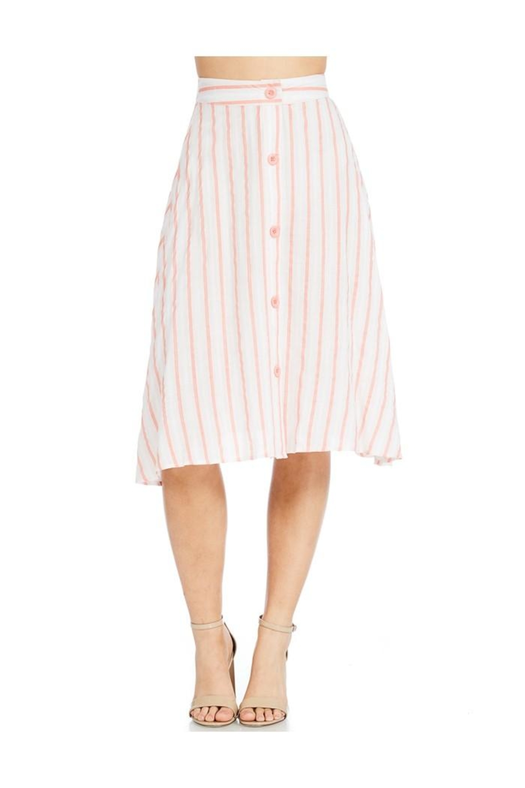 Miley and Molly Linen Stripe Button Front A-Line Midi Skirt - Main Image