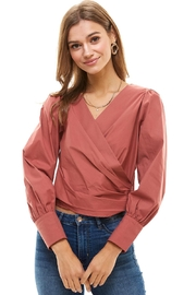Miley and Molly Long Puff Sleeves Surplice Blouse - Product Mini Image