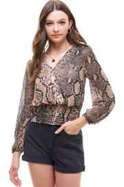 Miley and Molly Long Sleeve Brown Snake Skin Surplus Wrap Smocked Waist Blouse Top - Product Mini Image