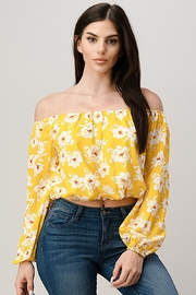 Miley and Molly Long Sleeve Floral Print Off Shoulder Blouse Top - Product Mini Image