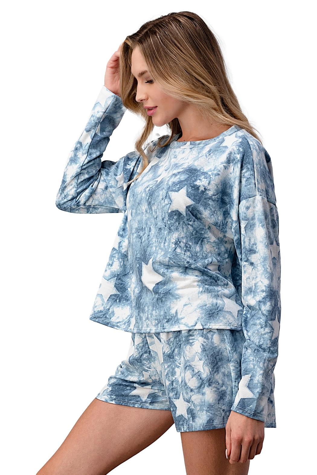 Miley and Molly Lounge Wear Pajama Set With Star Matching Set - Back Cropped Image