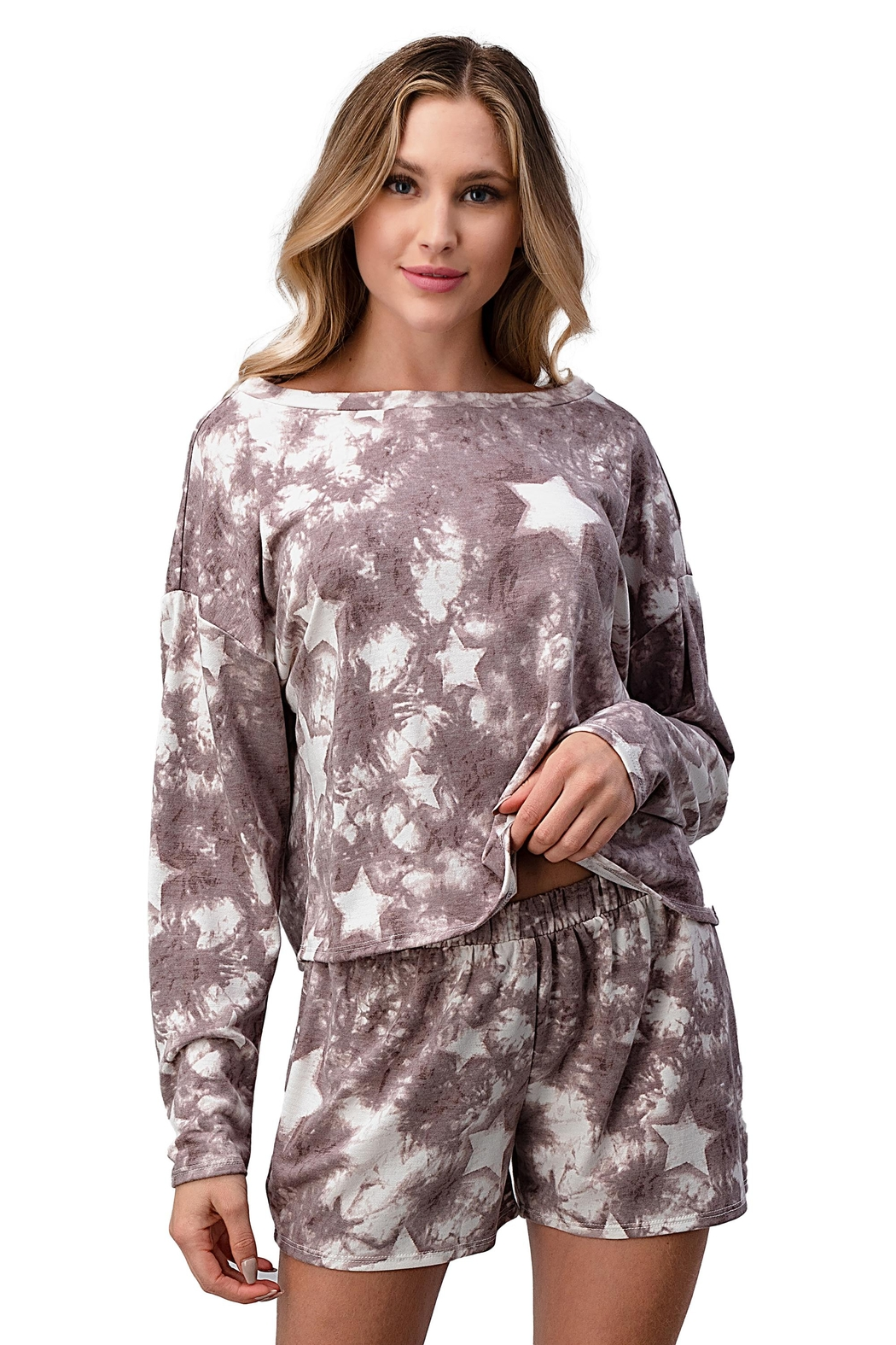 Miley and Molly Lounge Wear Pajama Set With Star Matching Set - Front Cropped Image