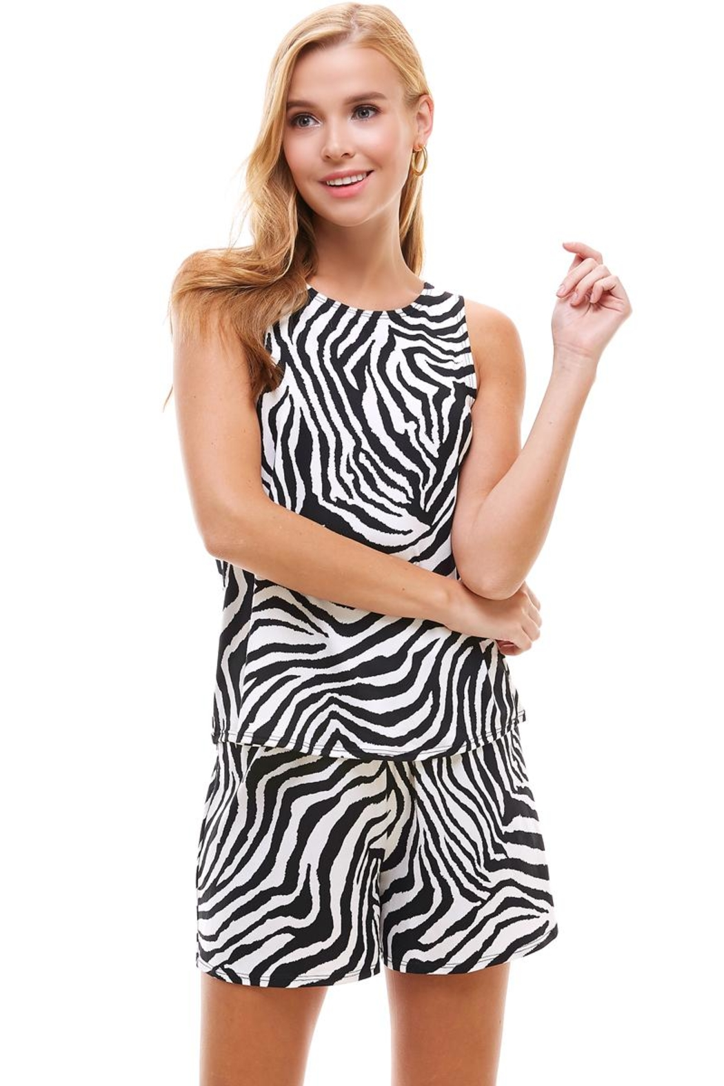 Miley and Molly Lounge Wear Set Zebra Leopard Animal Sleeveless Top And Short - Main Image
