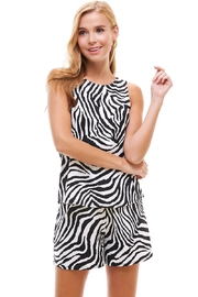 Miley and Molly Lounge Wear Set Zebra Leopard Animal Sleeveless Top And Short - Front cropped