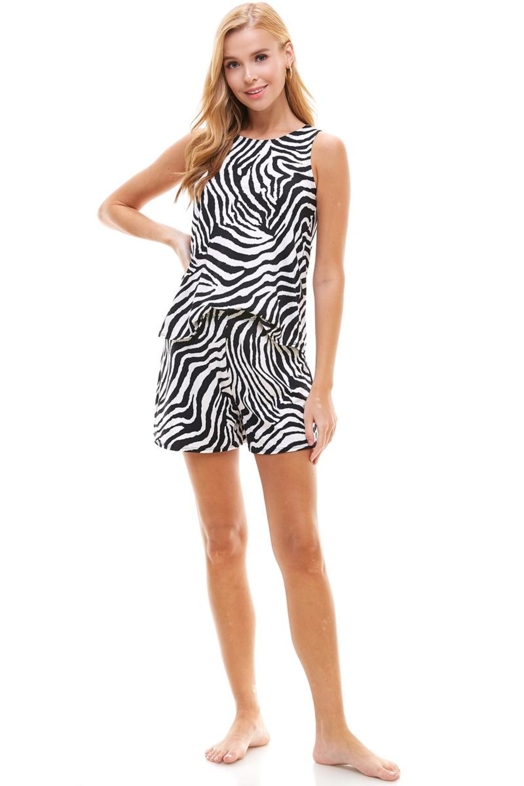 Miley and Molly Lounge Wear Set Zebra Leopard Animal Sleeveless Top And Short - Side Cropped Image