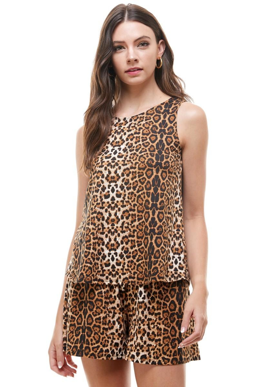 Miley and Molly Lounge Wear Set Zebra Leopard Animal Sleeveless Top And Short - Front Cropped Image