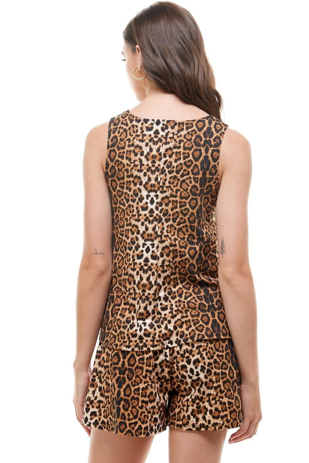 Miley and Molly Lounge Wear Set Zebra Leopard Animal Sleeveless Top And Short - Back Cropped Image