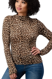 Miley and Molly Lurex Knit Leopard Printed Mock Neck Long Sleeves Top - Product Mini Image