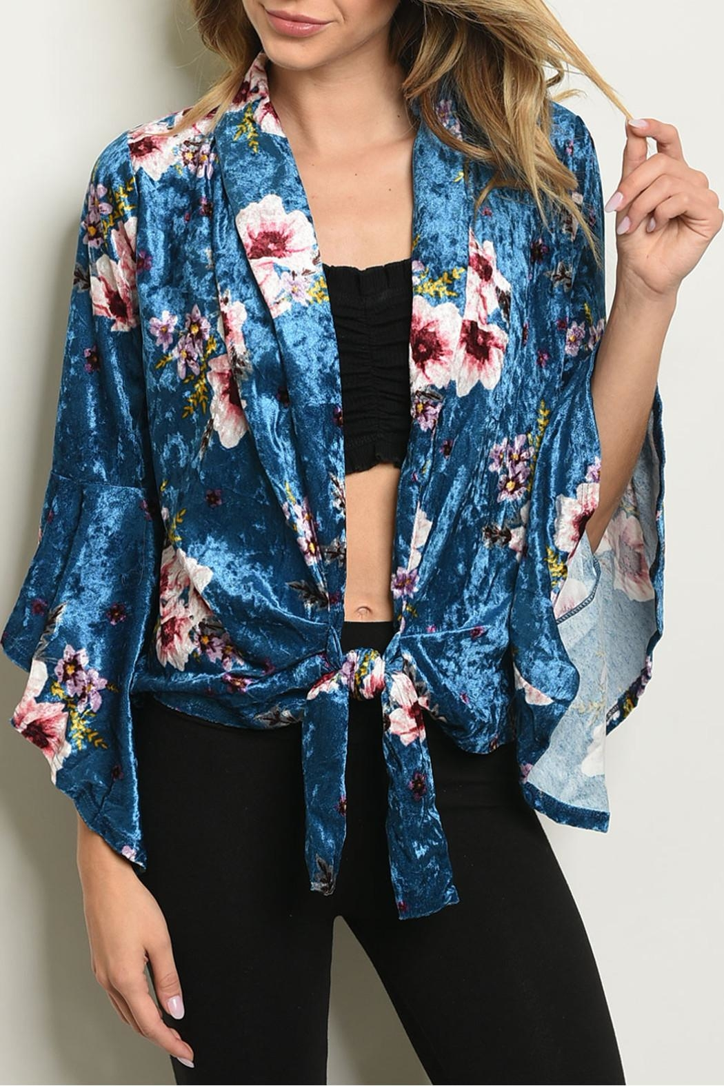 Miley and Molly Velvet Floral Cardigan - Front Cropped Image