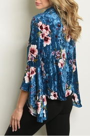 Miley and Molly Velvet Floral Cardigan - Front full body