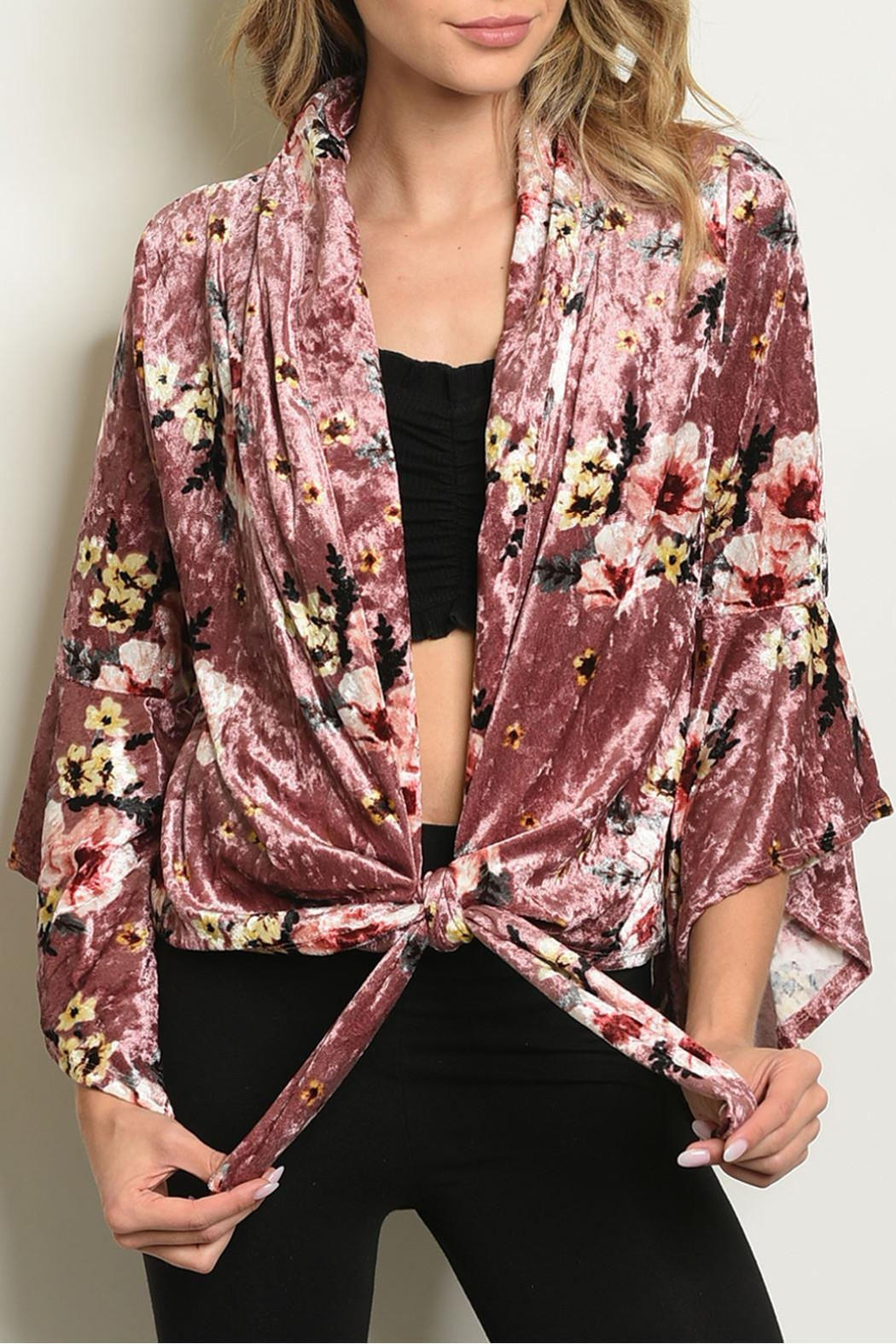 Miley and Molly Velvet Floral Cardigan - Main Image