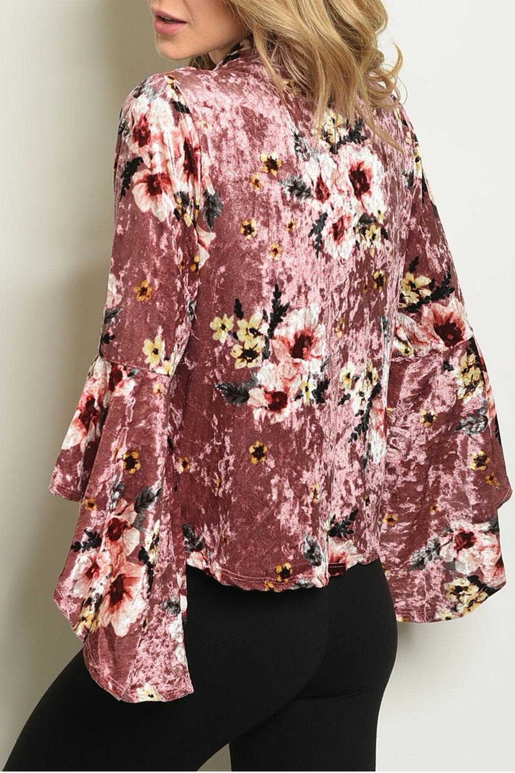 Miley and Molly Velvet Floral Cardigan - Front Full Image