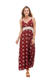 Miley and Molly Medallion Prt Natural Crochet Waist Trim Surplice Tank Maxi Dress - Product Mini Image