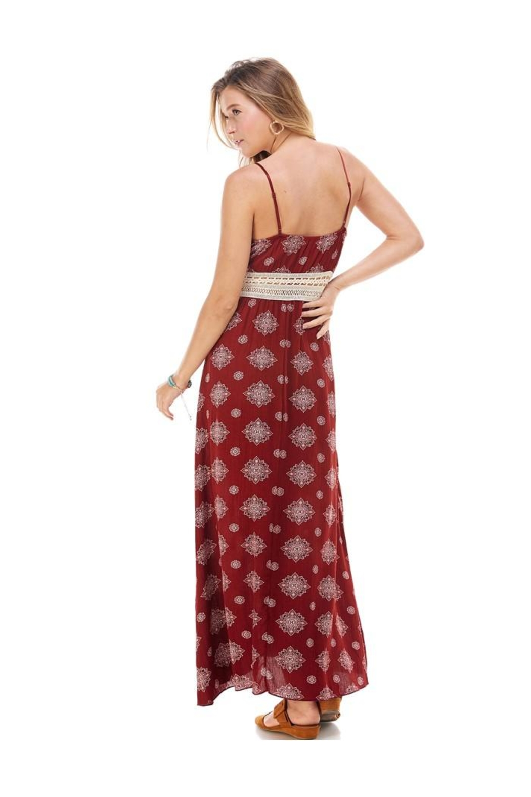 Miley and Molly Medallion Prt Natural Crochet Waist Trim Surplice Tank Maxi Dress - Front Full Image