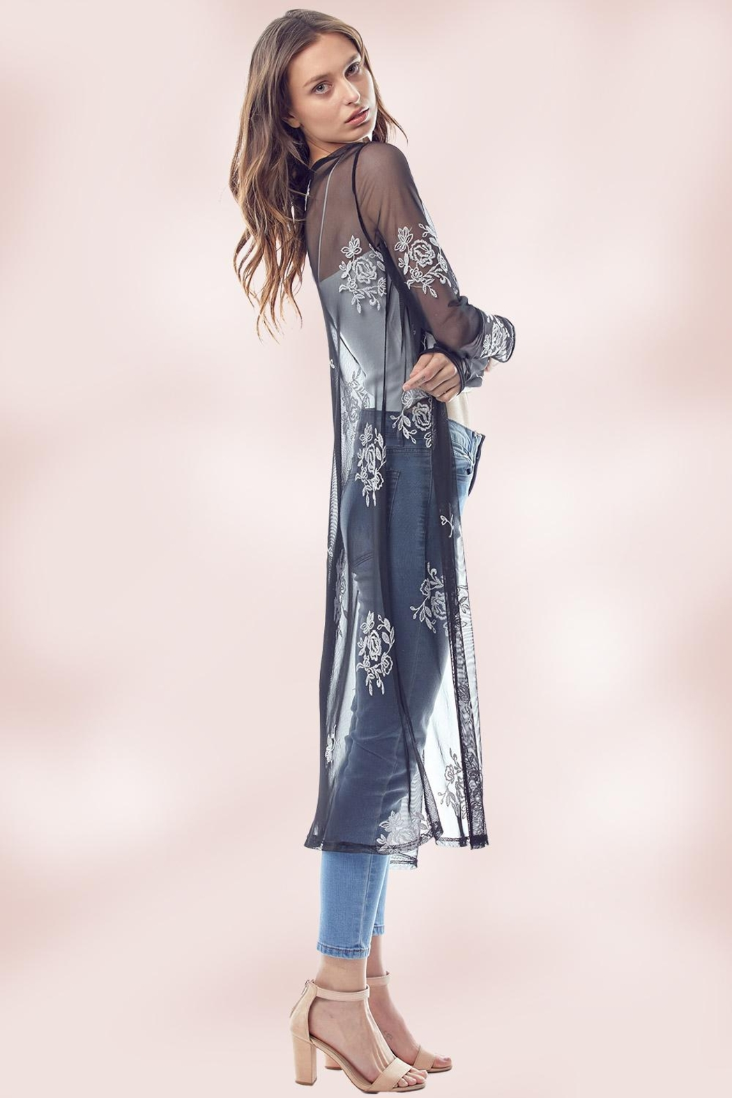 Miley and Molly Mesh Embroidered Long Duster - Front Full Image