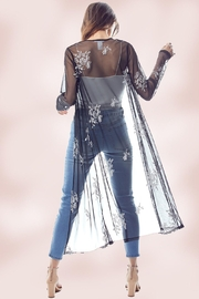 Miley and Molly Mesh Embroidered Long Duster - Back cropped