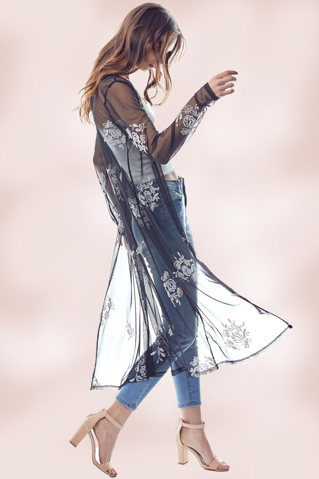 Miley and Molly Mesh Embroidered Long Duster - Main Image